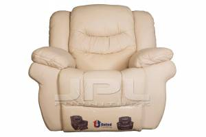 8001 Кожаное кресло с механизмом- реклайнер механическое (крутилка-качалка), цвет 17#