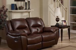 8004 Кожаный диван с механизмом - реклайнер  двухместный электрический