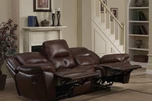8004 Кожаный диван с механизмом- реклайнер трехместный