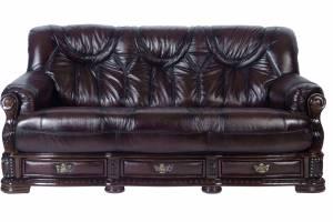 Кожаный диван Oakman трехместный с механизмом, цвет 08#