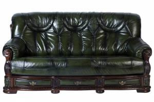 Кожаный диван Oakman трехместный с механизмом, цвет 09#