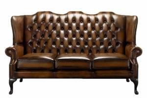 Кожаный диван В-275 трехместный без механизма, цвет 50#