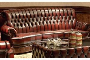 Кожаный диван 80615 трехместный без механизма