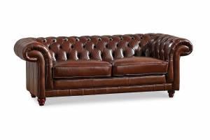 Кожаный диван В-288 трехместный без механизма, цвет 08#