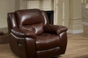 8004 Кожаное кресло с механизмом - реклайнер  механическое