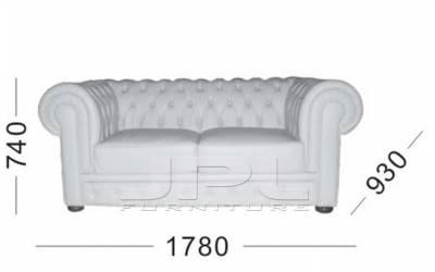 Кожаный диван Chester двухместный без механизма, цвет 10#