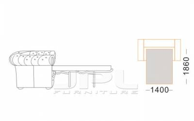 Кожаный диван Karen трехместный с механизмом, цвет 08#